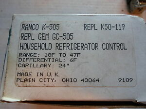 Ranco K 505 Household Refridgerator Control 18f To 47 F Replaces K50 119
