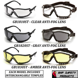 Pyramex V2g Safety Glasses goggle Hybrid Anti fog Lens Z87 Choose Your Color