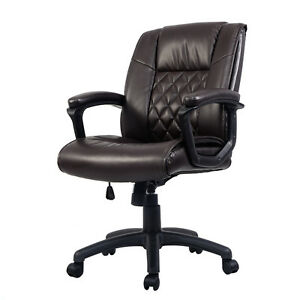 Ergonomic Mid back Executive Computer Desk Task Office Chair Pu Leather Brown