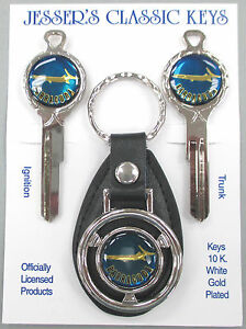 Plymouth Blue Barracuda Fish Deluxe Classic White Gold Keys Set