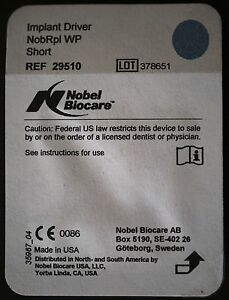 Nobel Biocare Implant Driver Nobrpi Wp Short ref 29510