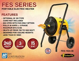 Fostoria Fes 1524 3e 15kw 240v 3ph Portable Electric Salamander Heater