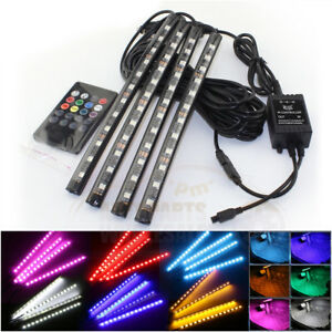 4 12 Led Rgb 7 Colors Strips Remote Control Car Interior Floor Atmosphere Light