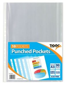 Pack Of 10 A3 Portrait Punched Pockets 90 Micron Ring Binder Sleeves Wallets