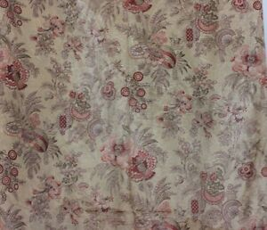 Antique French 19thc Printed Silk Indienne Style Fabric 3yds 24 L X 30 W