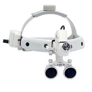 3 5x Dental Surgical Headband Medical Led Light Binocular Loupes Dy 106 White
