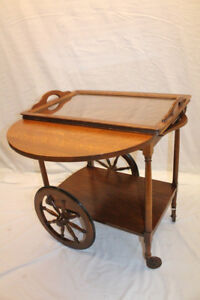 Incredible Arts Crafts Tiger Oak Serving Drop Leaf Table Tea Cart With Tray