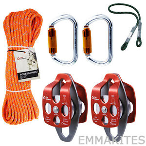 32kn Twin Sheave Block And Tackle Pulley System With 7 16 Rope And Kits Rigging