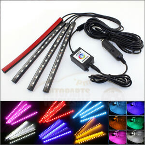 4 12 Led Rgb Strips App Control 7 Colors Car Interior Floor Atmosphere Light