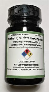 Nickel ii Sulfate Hexahydrate 99 6 Anatytical Reagent acs 30g