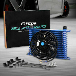 15 Row 10an Universal Engine Transmission Oil Cooler 7 Electric Fan Kit Bl
