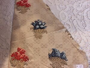 Antique French Or Italian 18thc Silk Brocade Metallic Textile Fabric Collectors
