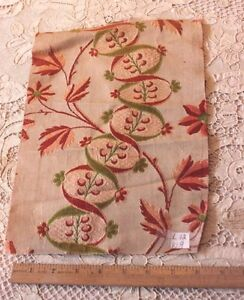 Antique French 18thc Silk Brocade Home Textile Fabric 12 L X 9 W