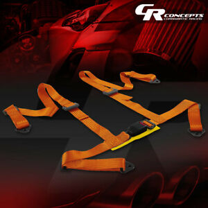 4 Point 2 Wide Gold Strap Harness Safety Buckle Style Racing Seat Belt Bolts