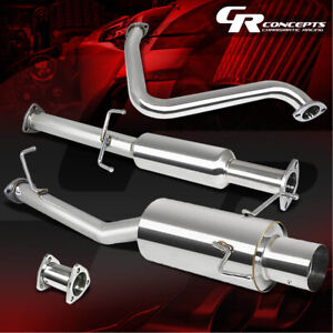 4 Muffler Tip Catback Exhaust System For 97 01 Honda Prelude Coupe 2 2l H22 Bb6