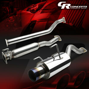 4 Muffler Burnt Tip Catback Exhaust System For 02 06 Acura Rsx Dc5 Type s K20a