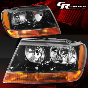 Pair Black Housing Amber Side Headlights Lh Rh For 99 04 Jeep Grand Cherokee Wj