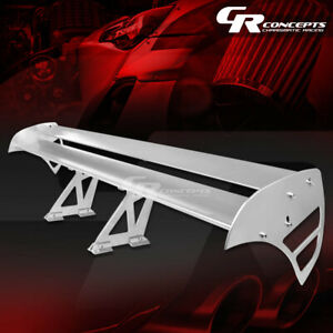 Gt Style 55 Light Universal Trunk Double Deck Racing Spoiler Wing Kit Silver