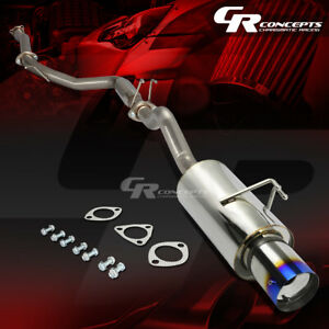 4 Muffler Burnt Tip Catback Racing Exhaust System For 06 11 Honda Civic Si 2 0l