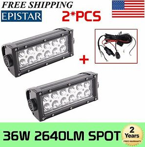 2x 8inch 36w Led Car Light Bar Work Lamp Spot Driving Offroad 4wd Suv Wiring Kit