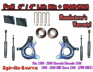 99 07 Chevy Silverado Gmc Sierra 1500 Spindle Lift Kit 6 4 Offset Shocks