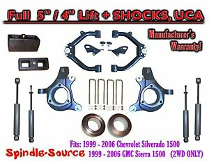 99 07 Chevy Silverado Gmc Sierra 1500 Spindle 5 Lift Kit 5 4 Shocks Uca