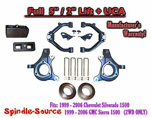 99 07 Chevy Silverado Gmc Sierra 1500 Full Spindle 5 Lift Kit 5 2 Nbs Uca