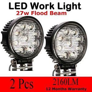 2x 27w Round Led Work Flood Light Offroad 4wd Driving Fog Lamp Super Light Usa Q