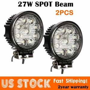 2x 5inch 27w Round Led Work Light Bar Spot Flood Offroad Driving Fog Lamp 12v Z