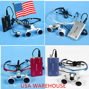 Dental Medical Binocular Loupes 3 5x Glass Loupe Led Head Light L2 Usa