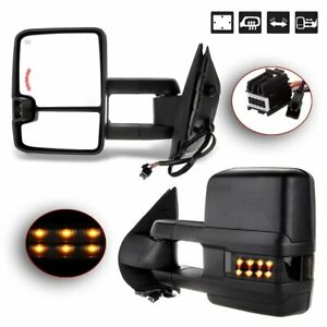 Pair For 2007 14 Chevy Silverado Sierra Tow Power Heated Led Signal Mirrors