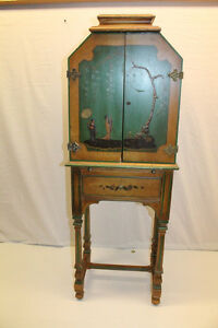 Gorgeous 1930 Chinese Oriental Hand Painted Cabinet Secretary With Drawer