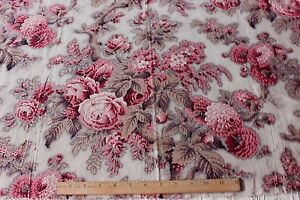 Antique 19thc Old French Big Scale Cabbage Rose Chintz Picotage Cotton Fabric