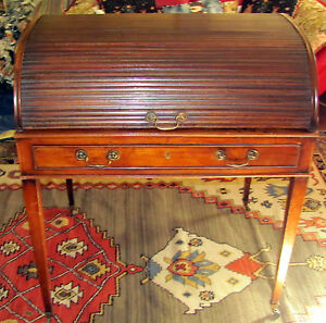 18th C George Iii Hepplewhite Period Mahogany Tambour Cylinder Writing Desk