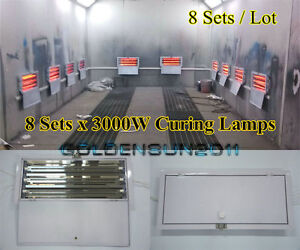 3kw Spray Baking Booth Infrared Paint Curing Lamps Heaters Heating Lights 8 Sets