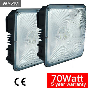 4 Pack 70w Square Led Canopy Lights 250 400w Hps mh Replaces 110v To 277v Input