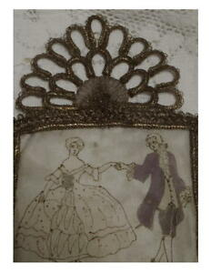 Hand Painted Silk Metallic Gold Lace Trim 1910 S Rare French Nos Price Reduced