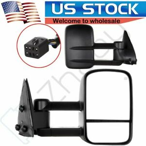 For 1999 02 Silverado Sierra Tow Power Heated Side View Telescoping Mirrors Pair