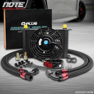 Fit For Universal 25 Row Engine Transmission 10an Oil Cooler Kit 7 Fan