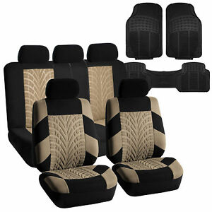 Complete Interior Set Seat Covers With Heavy Duty Floor Mats For Auto Beige
