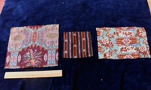 3 French Printed Roses Paisleys Wool Chalis Antique Fabric Textiles Doll Quilts