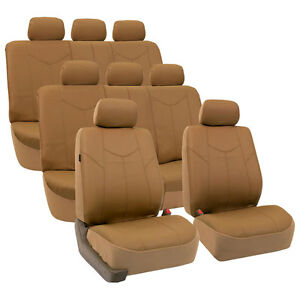 Pu Leather 3 Row Car Seat Cover Full Set For Van Suv Airbag Split Bench Beige