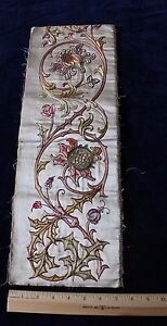 Antique Hand Emb Silk On Silk 18thc 1700s Priest Vestment Sample Gold Metallic