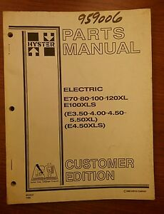 Hyster Forklift Parts Manual E70 80 100 120xl 852410