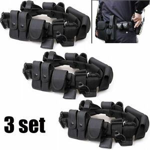 3x Police Security Guard Modular Enforcement Equipment Duty Belt Tactical Nylon