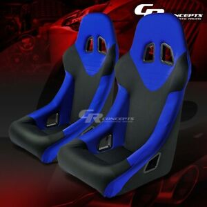 1 Blue Fabric Cloth Bucket Sports Racing Seats mounting Slider Rails Left right