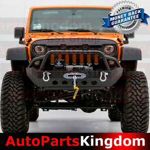 Black Textured Front Bumper W Winch Plate D Ring Fit 07 18 Jeep Jk Wrangler