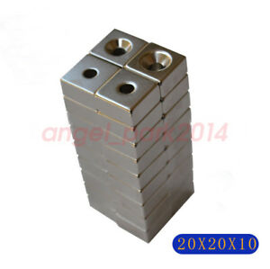Wholesale 20x20x10mm Hole 5mm Strong Block Rare earth Neodymium Magnets N50