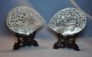 Vintage Chinese White Mother Of Pearl Shell On Stand Extraordinary Carved Pieces