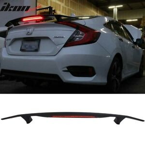 2 Post Universal Matte Black Trunk Spoiler Wing 3rd Brake Led Light Abs